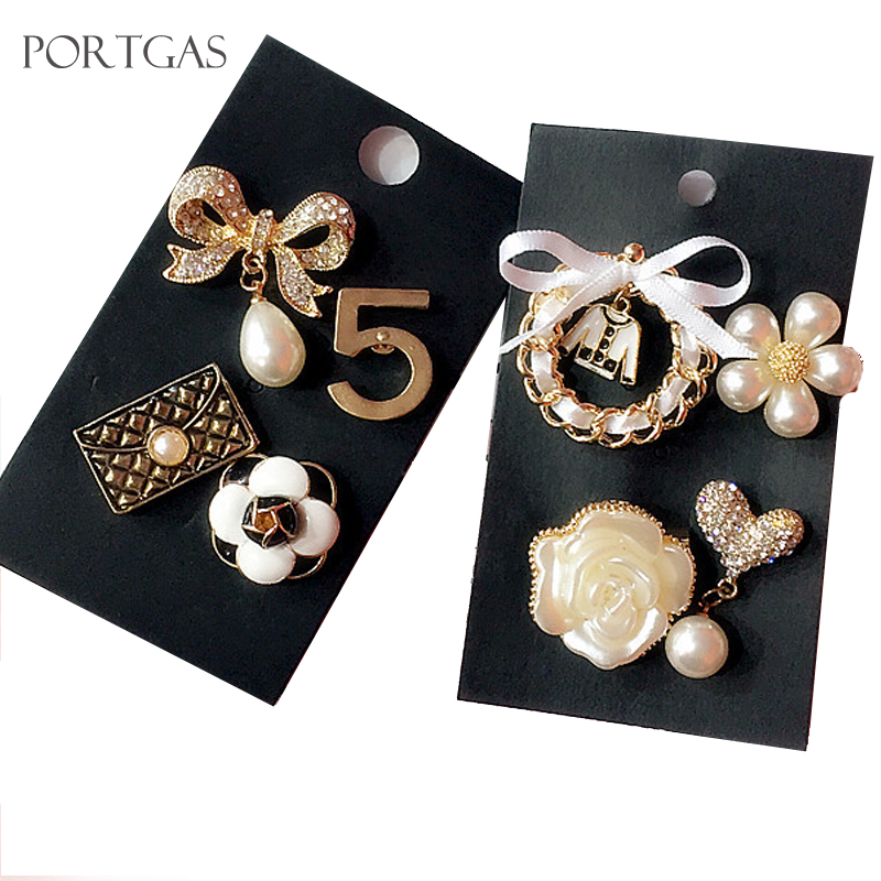 Classic Design Brooches Crystal Bow Flower Pearl Camellia Flower No.5  brooches Pin Jewelry Vintage a01744cb7d29