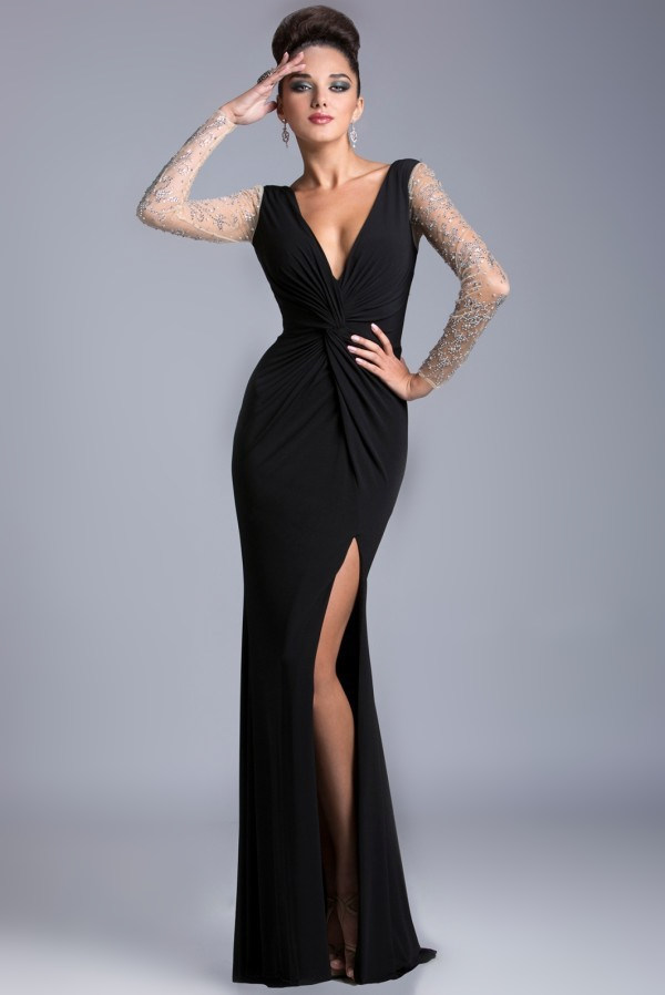 Images of Long Evening Dresses With Sleeves - Reikian