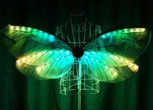 Emitting performance props insects golden wings stage LED full-color LED dance costumes