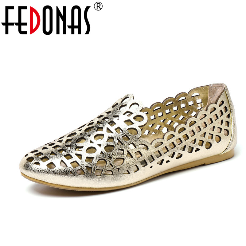 FEDONAS 2018 Brand Women Flats Shoes Woman Cover Toe Solid Shallow Cut-outs Sandals Summer High Quality Fashion Female Sandals anmairon shallow leisure striped sandals women flats shoes new big size34 43 pu free shipping fashion hot sale platform sandals