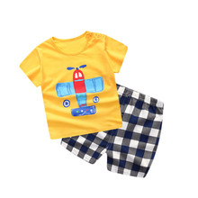 Baby Boy ruhák Nyári New Penguin Baby Boy Lány ruha szett Cotton Baby ruhák illik a Short Plaid Infant Kids Ruhák