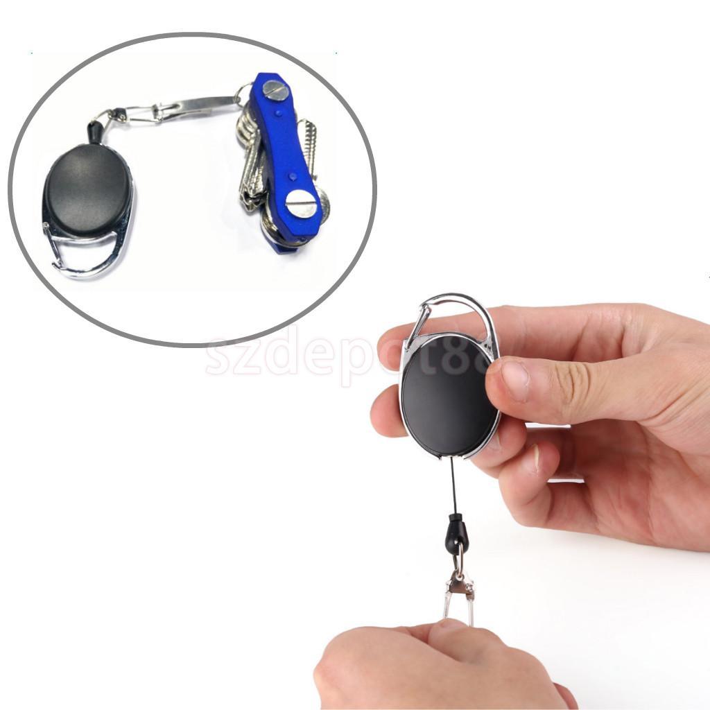 1 Pcs Recoil 60 Cm Diperpanjang Kawat Logam Gantungan Kunci Rantai Buka Cincin Klip Tarik Keyring Retractor Hitam