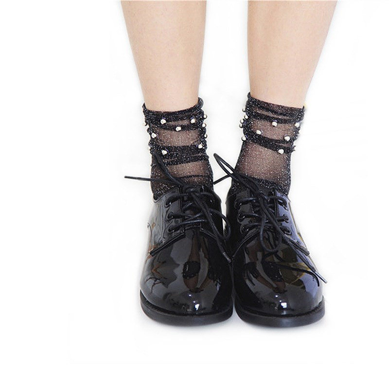 New High Quality Summer Stylish Trendy Fashion Modern Woman Girl Glitter Shiny Pearl   Socks   Mesh Thin Bead Gauze Transparent Sox