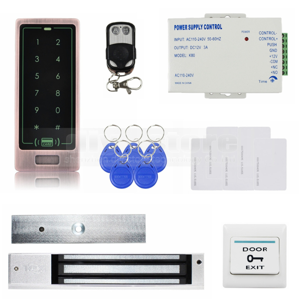 DIYSECUR Remote Control Touch Panel Backlight RFID Reader Password Keypad Door Access Control Security System Kit diysecur touch panel rfid reader password keypad door access control security system kit 180kg 350lb magnetic lock 8000 users