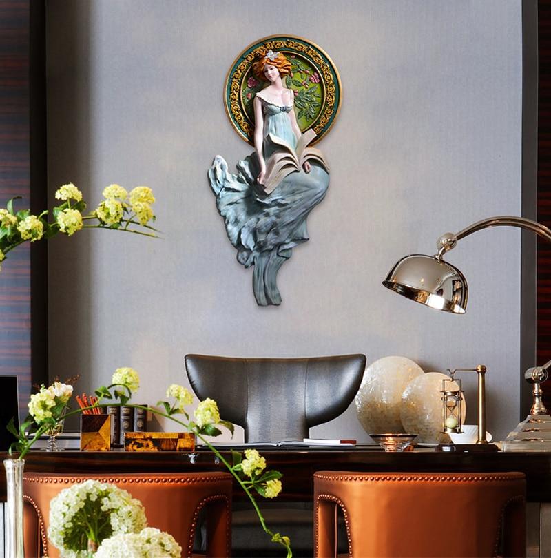 Старинная античная бронза Искусство и ремесла для молодых девушек медная стена скульптура украшение художественные поделки украшения на с... - 3