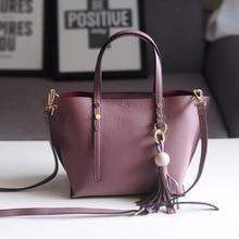 2016 Korean Style New Genuine Leather Women Tote Bag with Tassel Handbag Casual Shopping Bag Female Purse Shoulder Messenger Bag