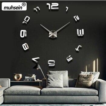 Большие бесшумные настенные часы Saat, классический стиль, украшение для дома, часы для гостиной, модные короткие кварцевые часы, большие часы