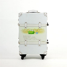 Female / Male PU Leather Handbag Suitcase 20/24 Inches Spinner / Fixed Wheels White Rivet Trolley Suitcase