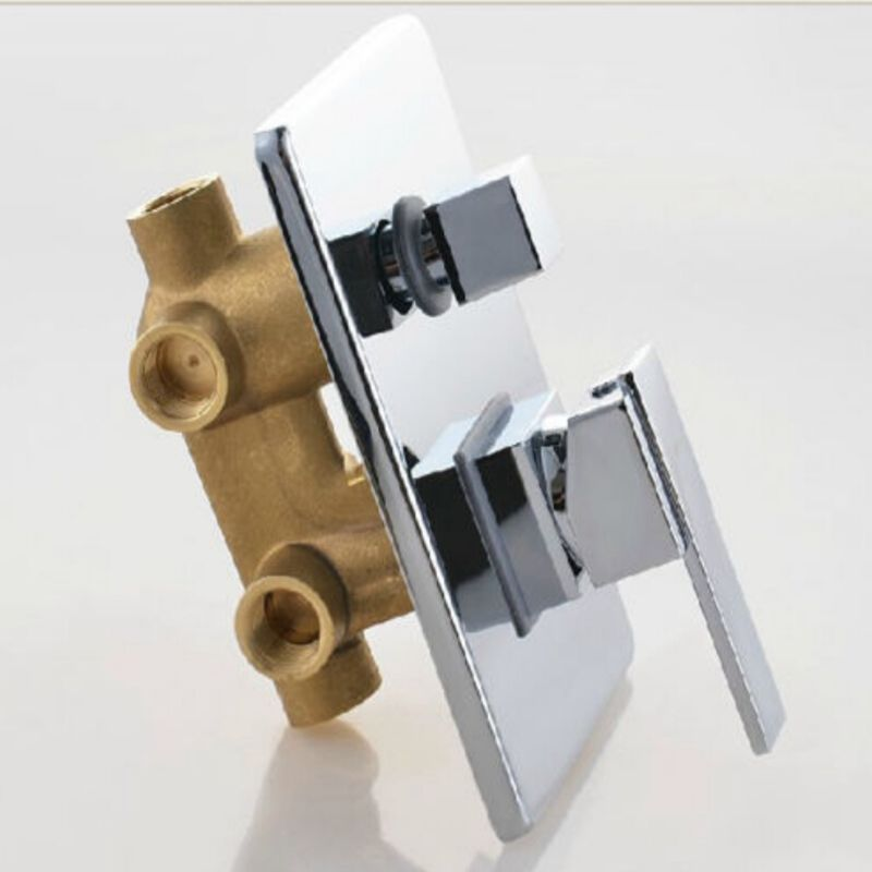 Wholesale And Retail Promotion Free Shipping NEW Wall-mount 3 Ways Shower Faucet Control Valve W/ Diverter Square Plate Mixer free shipping   wholesale retail  2