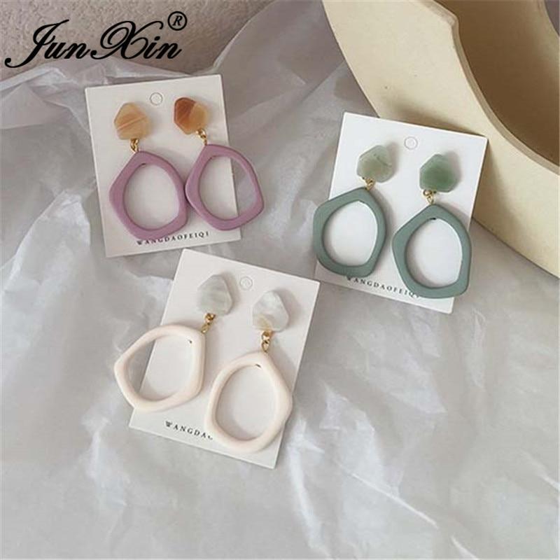 JUNXIN Punk Geometric Resin Earrings For Women Retro Needle Purple White Acrylic Stone Big Circle Drop Earrings Party Jewelry