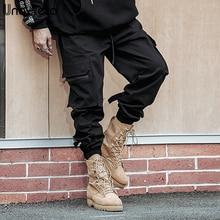 Una Reta Uomini delle Pantaloni stile harem 2019 Nuovo Hip Hop Casual Maschio Tatical Pantaloni pantaloni di Modo Streetwear Laterale Tasche Cargo Pants