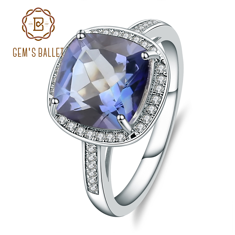 Gem's Ballet 3.66Ct Natural Iolite Blue Mystic Quartz Gemstone Rings 925 Sterling Silver Cocktail Rings Fine Jewelry For Woman