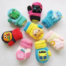 1 Pair Cute Cartoon Thicken Warm Fleece Infant Baby Boys Girls Winter Warm Gloves Newborn Mittens For Kids(China)