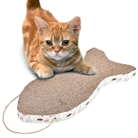 Fish Shaped Pet Cat Scratcher With Catnip Lounge Handmade Cardboard Lovely Interactive Toys For Training Kitten