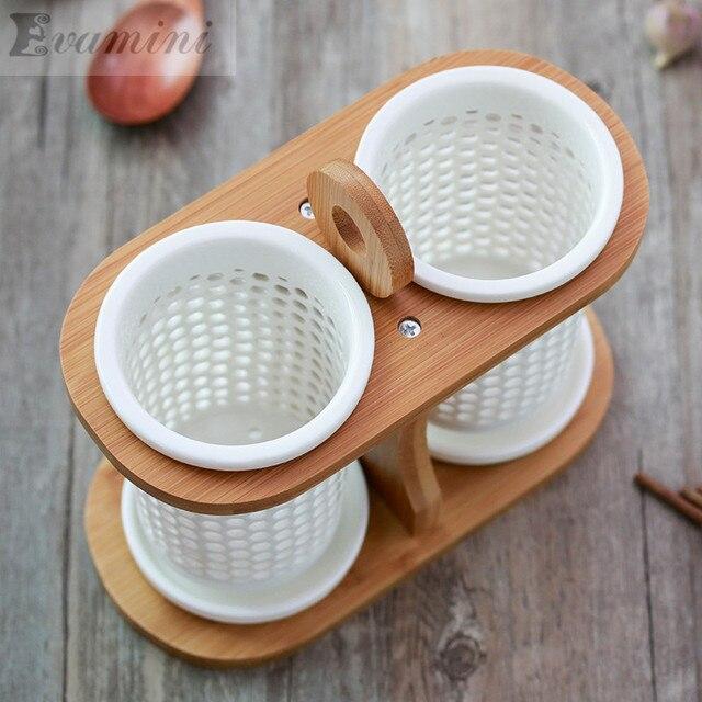 China Ceramic Tube Tableware Storage Rack Drain Rack Shovel Bucket Knife  Fork Storage Box Kitchen Utensils
