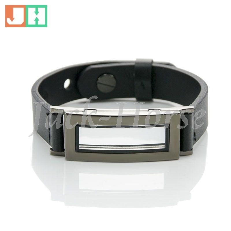 Leather charm bracelet magnetic glass floating charm locket bracelet graphite locket bracelet for men