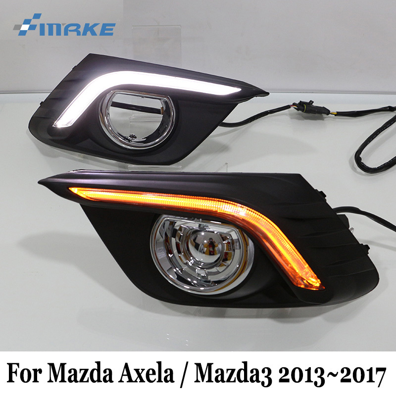 SMRKE DRL For Mazda 3 Axela / Mazda3 BM 2013~Present / Car LED Daytime Running Lights With Cornering Signal Lamp / Two-colour brand new updated led daytime running lights drl with black foglights cover for mazda 3 axela 2013 14