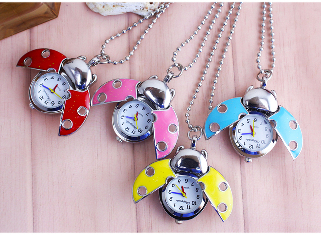 colorful Beetle open wings Ladybug Quartz Animal Pendant For Women Mens Pocket W
