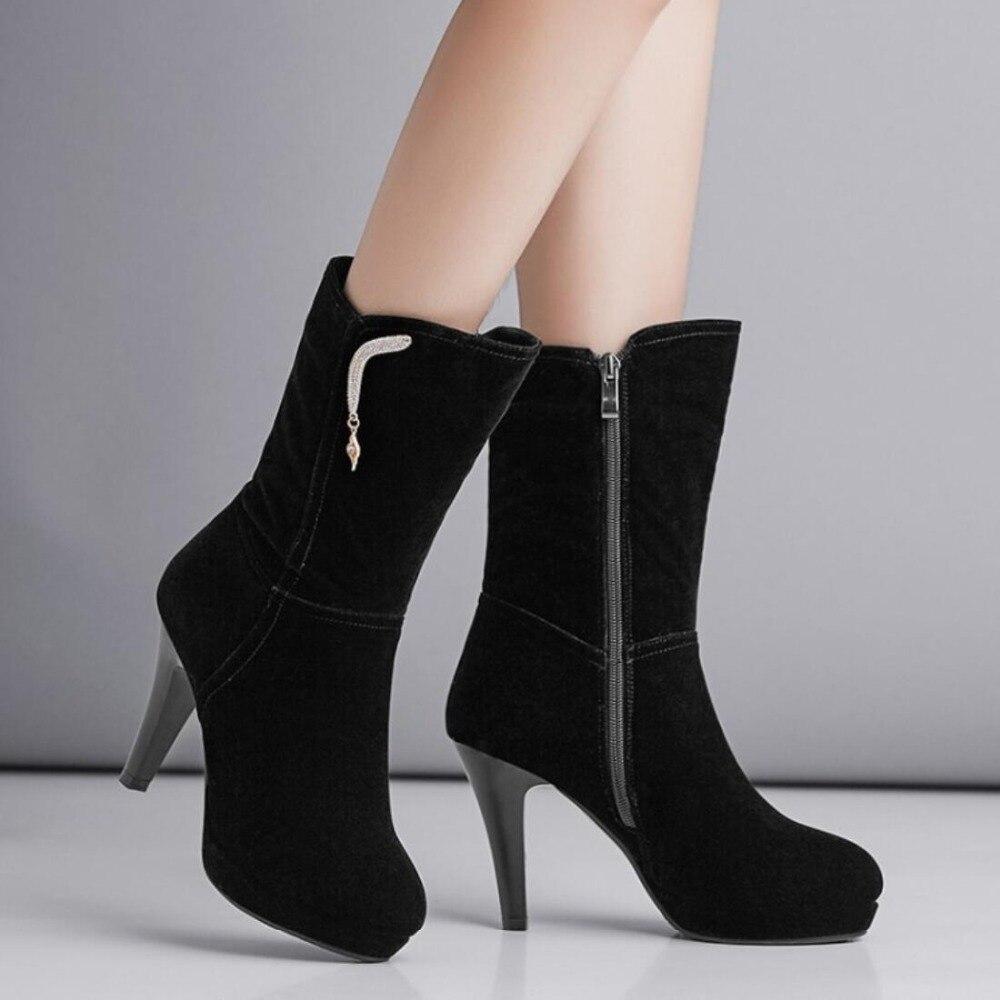 c21221854e5a97 Taille Moto Nouveau Mi mollet Femmes Flock Noir Neige Pointu Zipper Mince  Chaussures Bottes Bout Goxpacer ...