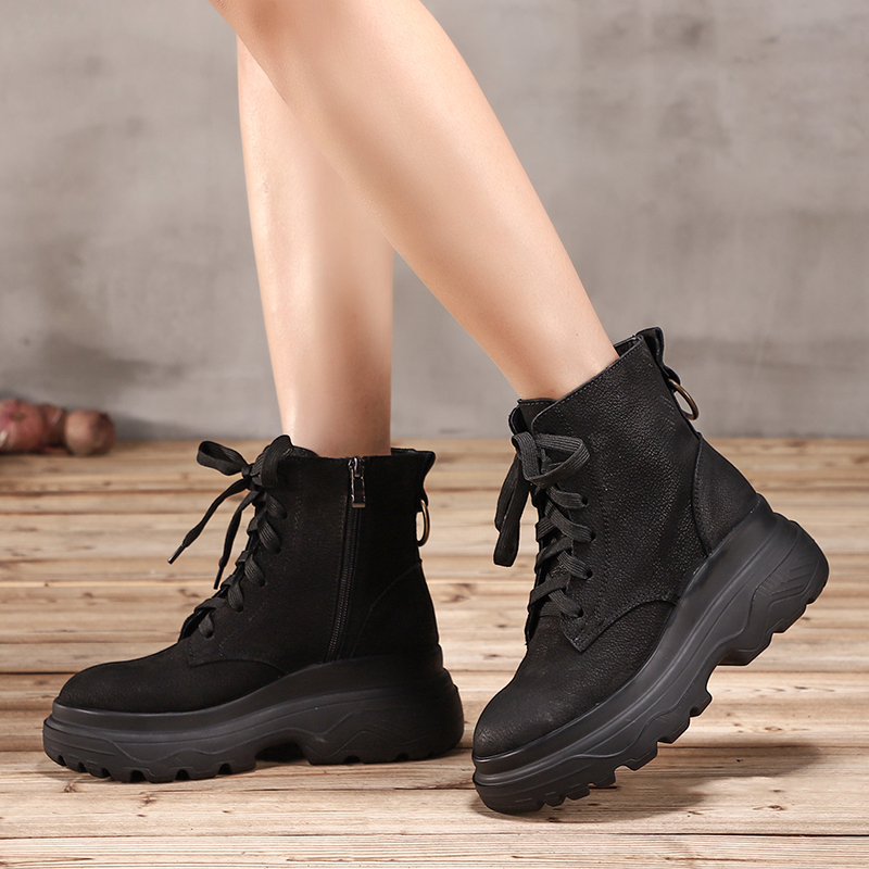 Leather VALLU Lace Up Shoes Woman 2018 New Arrival Female Wedge Boots Comfortable Original Leather Lady Casual Ankle Booties women mid calf boots shoes new arrival vallu vintage shoes lace up original leather female chunky heel boots