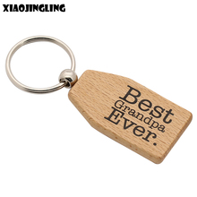 XIAOJINGLING Wooden Keyring Keychain Handmade Fashion Jewelry Car Pendant 'Best Grandpa Ever' Key Chain Fathers Day/Grandpa Gift