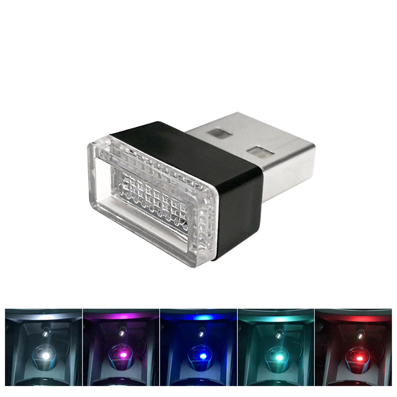 Azgiant Mini Usb Coche Interior Led Atmósfera Luz Divertida Y Colorida 5 V Con Enchufe Usb, Blanco, Azul, Azul Cristal, Rojo, Rosa