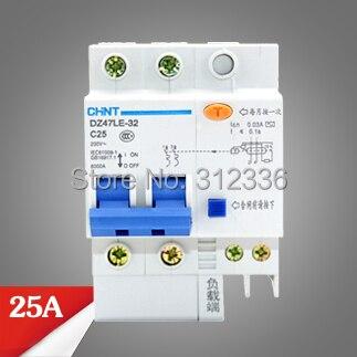 цена на Free Shipping Two years Warranty  DZ47LE-32 C25 2P 25A  2 pole ELCB RCD earth leakage circuit breaker  residual current