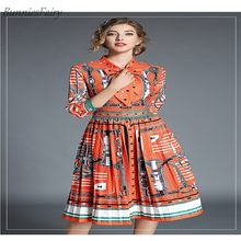 2018 Summer New Arrival Geometric Pattern Half and Regular Sleeve Mid-Calf  Bow Collar Ball with Bow Tie Gown Vintage Dress 28f587cc124c