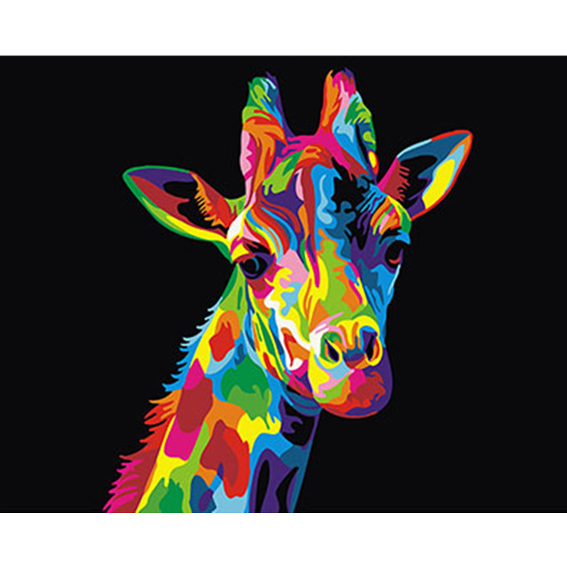 Colorful Giraffe Framed Pictures DIY Painting By Numbers DIY Oil Painting On Canvas Home Decoration Wall Art GX26194 40X50CM