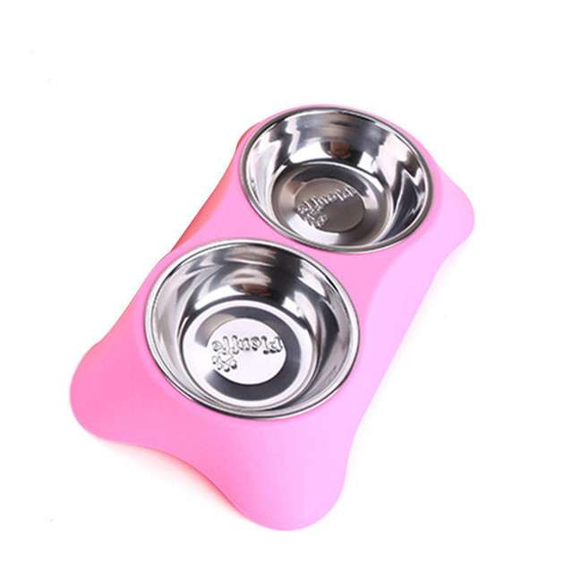 Stainless Steel Double Pet Bowls for Dog Puppy Cats Food Water Feeder Pets Supplies Feeding Dishes Dogs Bowl voerbak