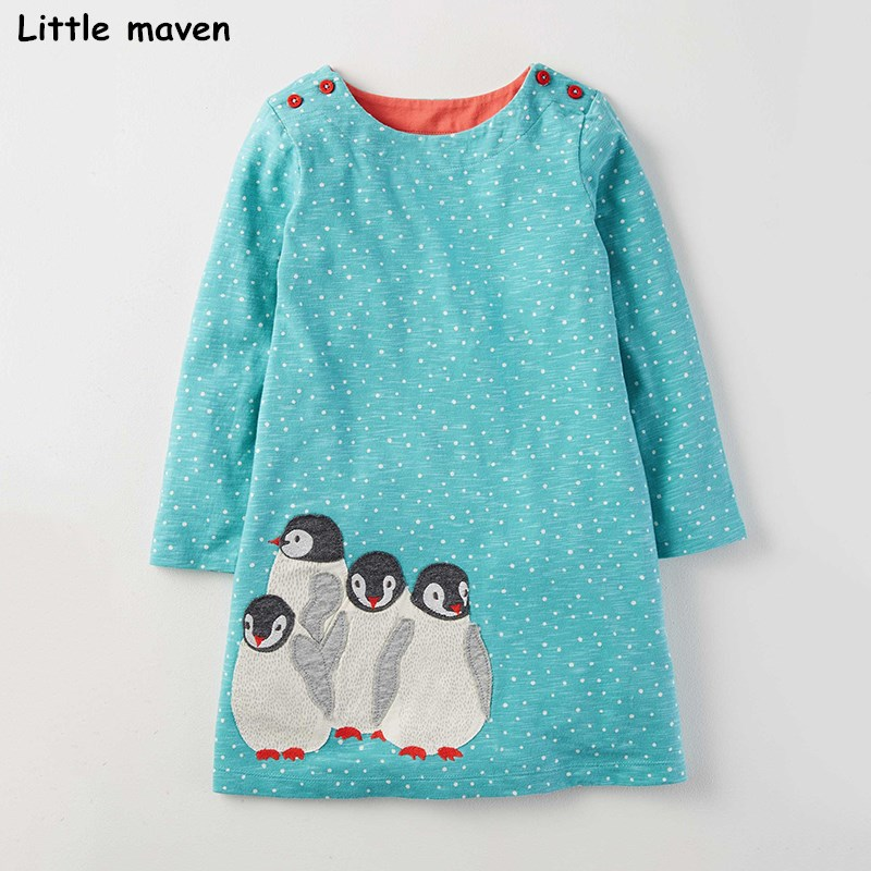 Little maven kids dresses for girls autumn baby girls clothes Cotton bird embroidered A line dot