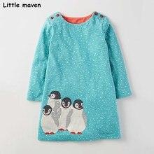 Peu maven enfants robes pour les filles automne bébé filles vêtements Coton oiseau brodé A-ligne dot tissu pingouin robe S0254