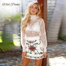 WildPinky New Spring Elegant See Through White Long Sleeve Lace Blouse Women Casual Shirt Blouses Tops Blusas Femininas