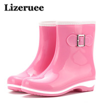 PVC Rubber Rainboots Woman Glossy Solid Color Autumn 2019 Female Waterproof Rain Boots Casual Shoes Thick Heel Rainboots Lady pvc leopard women rain boots female waterproof rainboots rubber shoes kawaihae brand knight riding boots