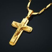 Golden Jesus Cross Necklaces Pendants For Men Gold Color Stainless Steel Chains Crucifix Necklace Male Christian Jewelry