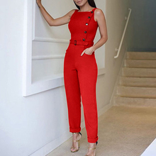 Summer Women Stylish Elegant Casual Red Slinky Romper Female Sleeveless Solid Color Button Design