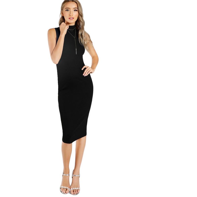 fe41e9e577399 SHEIN Black High Neck Rib Knit Sleeveless Knee Length Natural Waist Pencil  Bodycon Dress Women Summer Office Lady Fitted Dresses