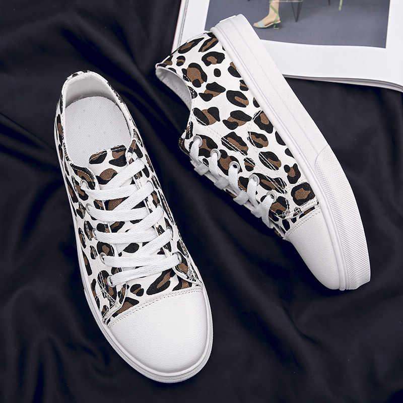 Mulheres Skate Sapatos de Lona Esportes Leopardo Apartamentos 2019 Peso Leve Tênis Ao Ar Livre Calçados Esportivos Respirável Lace Up