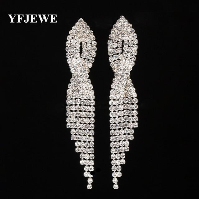 YFJEWE Fashion New Design Crystal Water Drop Tassel Long Earrings Elegant Women  Wedding Accessories for Bridal Jewelry E448 3f4c7f69a140