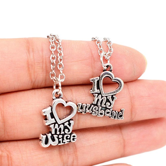 New Designs Valentine's Day Gift Lovers Couple Gift I Love My Wife Words Heart Charm Pendant Necklace Best Jewelry Gifts Forever