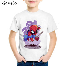 Super Hero Cartoon T-Shirts Boys Spiderman Captain America Avengers Funny kids tshirt Batman Short Sleeve Cotton boys clothing