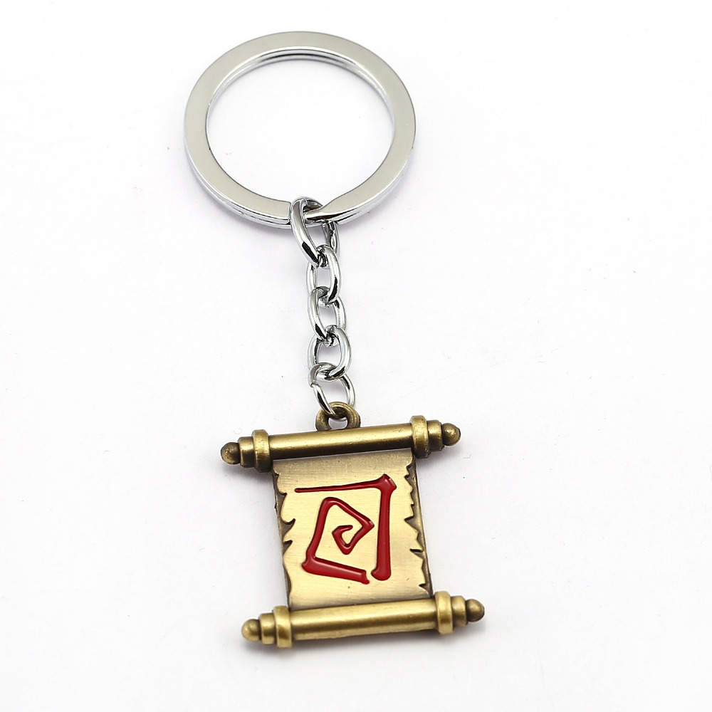 DOTA 2 Keychain Magic Scroll Key Chain Hot Game Key Ring Holder Pendant Chaveiro Jewelry Souvenir YS10825
