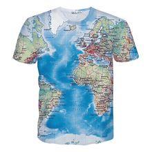 New Fashion Men's t-shirt 3d print Maps slim fit short sleeve brand clothing t shirt mens clothes summer tops tees