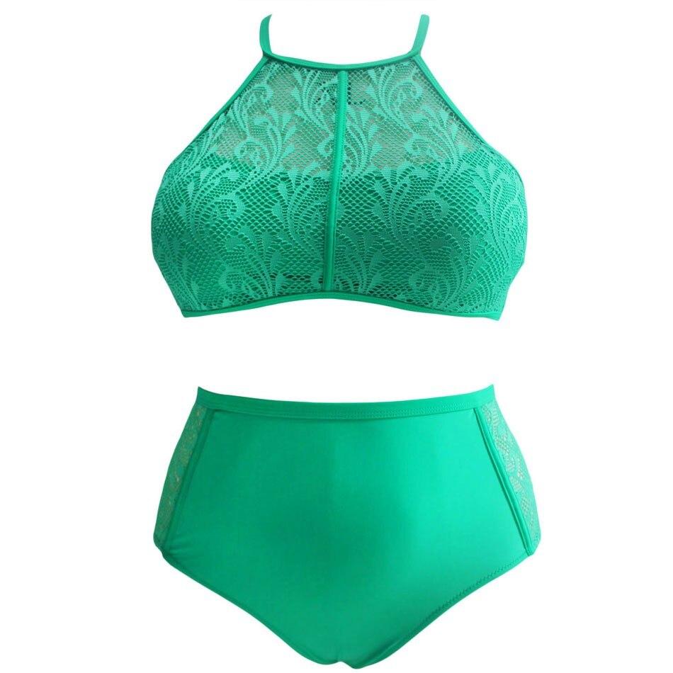 SEBOWEL Sexy Plus Rozmiar Wysokiej Talii Strój Kąpielowy Kobiety - Ubrania sportowe i akcesoria - Zdjęcie 5