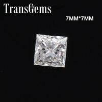 TransGems эквивалент Алмазный вес 2ct карат 7 мм * 7 мм F цвет Принцесса Cut Муассанит без огранки камень для изготовления ювелирных изделий