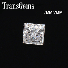 TransGems Equivalent Diamond Weight 2ct Carat 7mm*7mm F Color Princess Cut Moissanite Loose Stone for Making jewelry