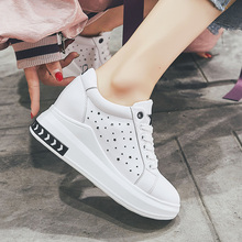 WADNASO Height Increased Casual Leather Women Shoes Cut-outs Platform Wedge Fashion Sneakers Hide Heel White SH6
