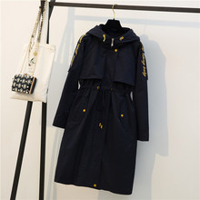 2019 Autumn Winter Long Trench Coats Large Size Women's Navy Overcoats Female Wi