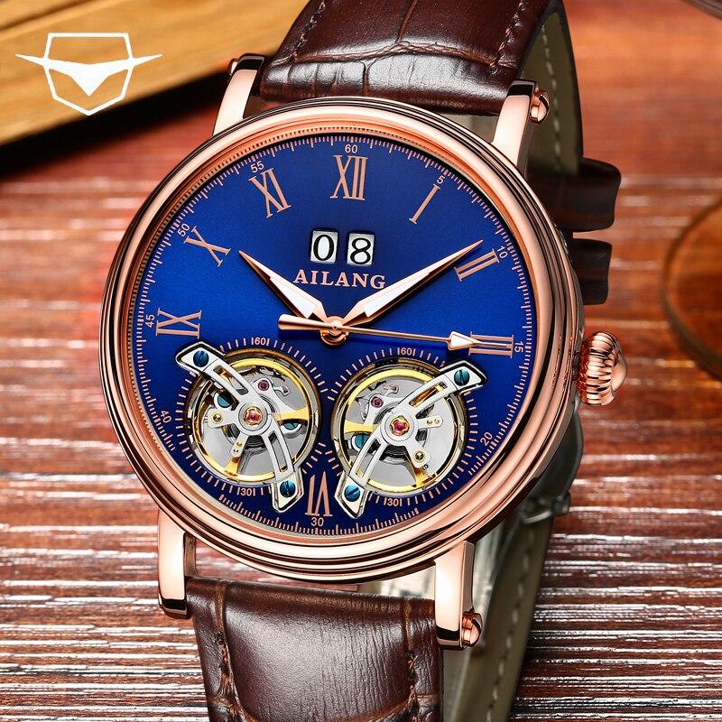 Di alta qualità orologio uomo ailang zaffiro specchio di cristallo di lusso doppio tourbillon automatico orologio meccanico in pelle vera watch2018