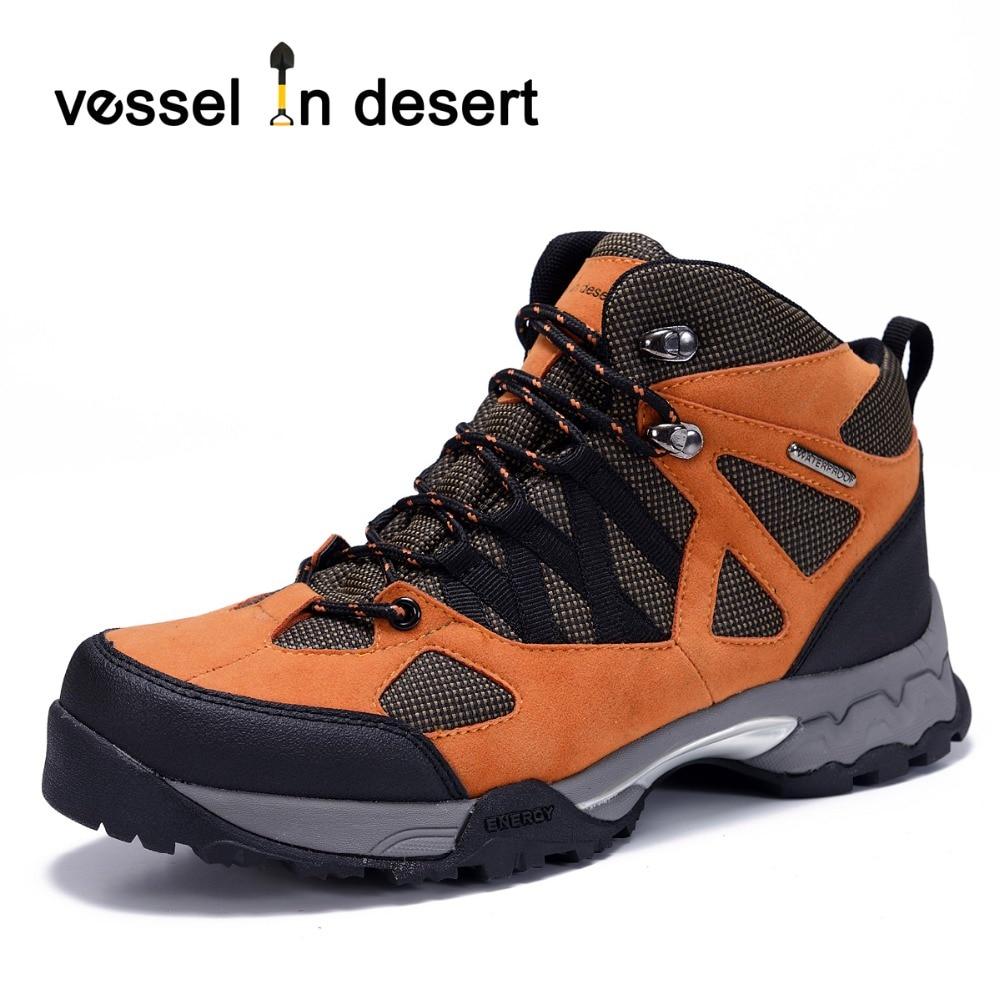 Embarcación en el desierto de alta calidad a prueba de agua botas de senderismo de los hombres al aire libre botas transpirables zapatilla de deporte del envío libre para hombre calzado